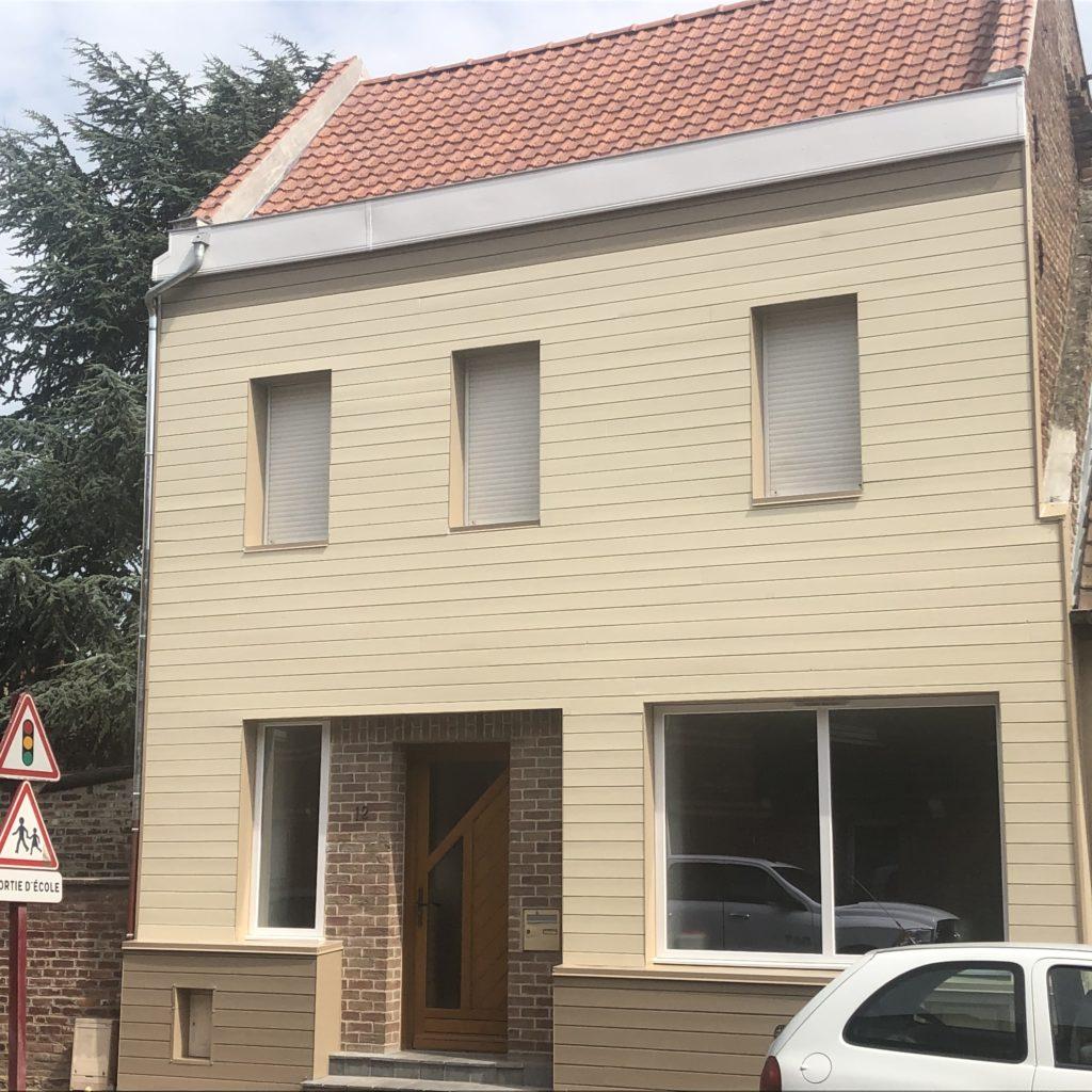 chantier isolation extérieure façade à Mazingarbe